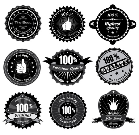 gratification: Vintage Styled Premium Quality and Satisfaction Guarantee Label  Black and white design