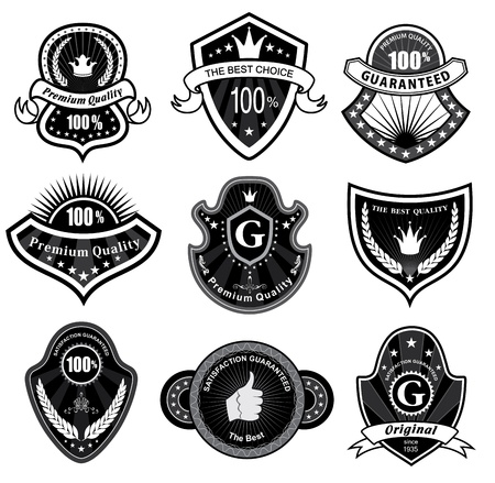 Vintage Styled Premium Quality and Satisfaction Guarantee Label  Black and white design Stock Vector - 13950738