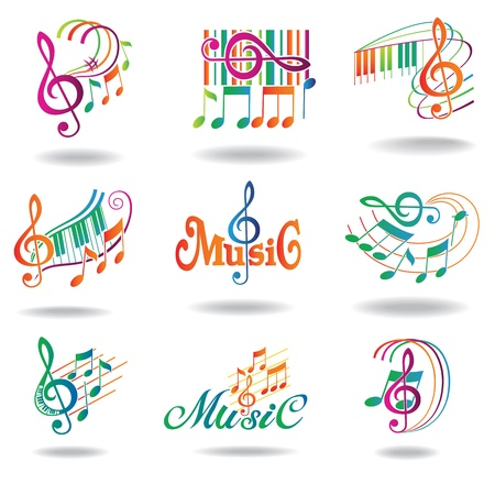 Colorful music notes  Set of music design elements or icons   Vector