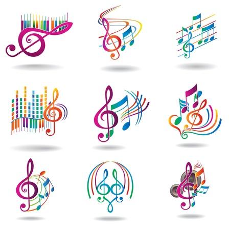 music design: Notas llenas de color m�sica Conjunto de elementos de dise�o o iconos de la m�sica Vectores