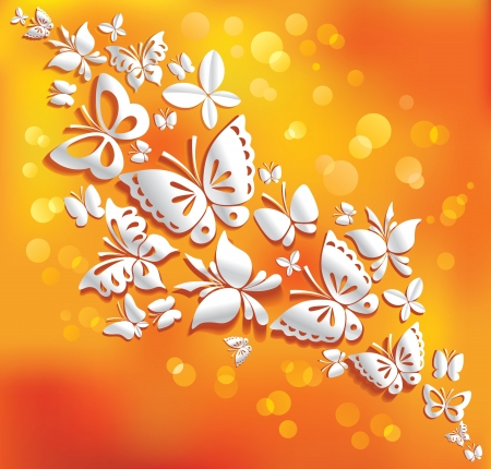 Origami butterflies on the sunny background   Vector