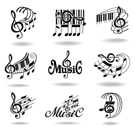 clef: Music notes  Set of music design elements or icons   Illustration
