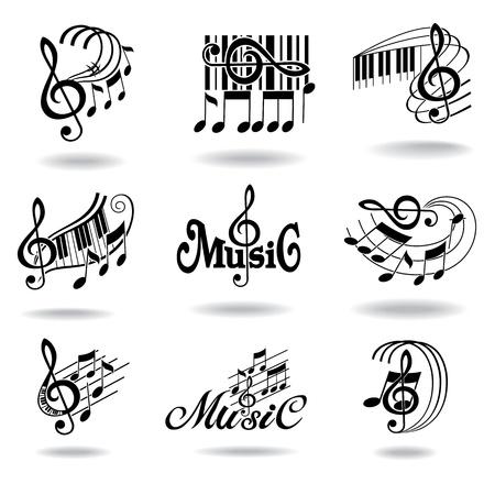 musical notes: Notas de la música Conjunto de elementos de diseño o iconos de la música