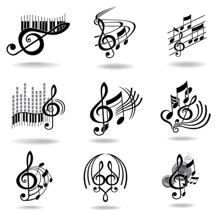 black piano: Music notes  Set of music design elements or icons   Illustration