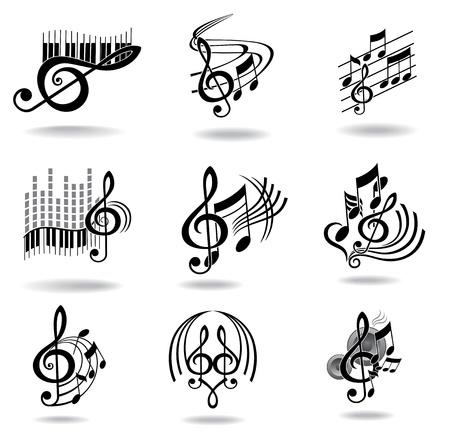 fortepian: Nuty Zestaw elementów projektu muzycznych lub ikon Ilustracja