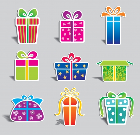 blue box: set of colorful gift boxes   Illustration