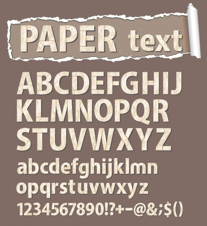 Paper font  Letters, numbers and orthographic symbols   Vector