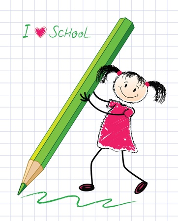 The little girl with a pencil   Vector