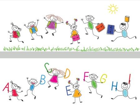 cartoon school girl: Volver a los ni�os alegres de la escuela se ejecutan en la escuela