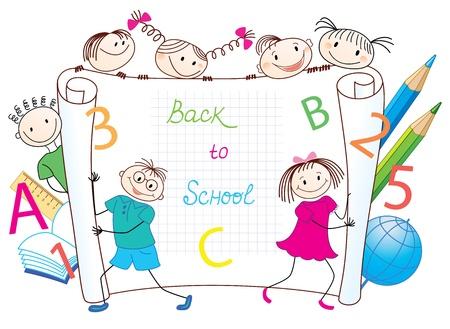 libro caricatura: Volver al grupo escolar de niños divertidos