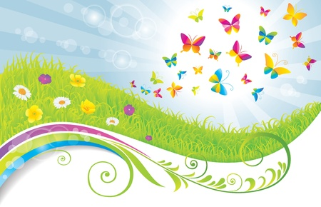 The Green Meadow with Flowers and Butterflies Stock Vector - 14810365
