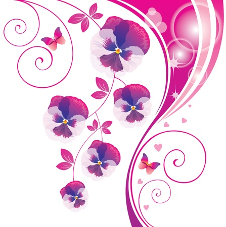 Abstract background with pink viola and butterfly Stock Vector - 14810361