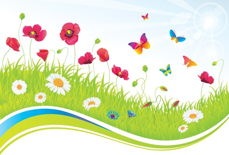 The Green Meadow with Flowers and Butterflies  Stock Vector - 14810366