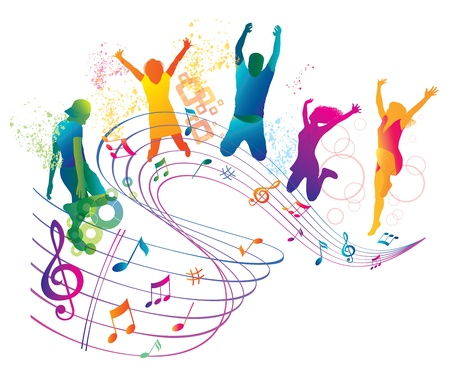 활동적인 점프와 춤을하는 사람들 일러스트