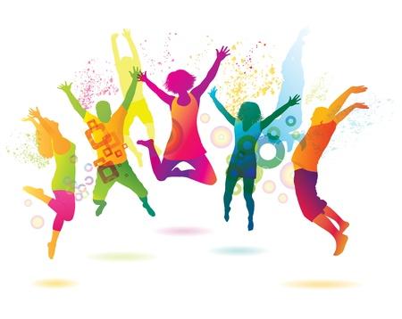młodzież: Młodzi ludzie na imprezie nastolatków tańczących Ilustracja