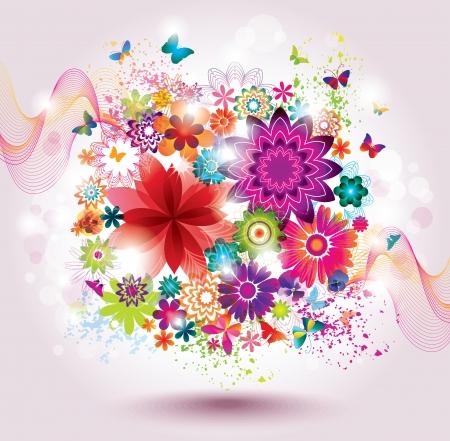 purple grunge: Beautiful Flower Background  Greeting Card