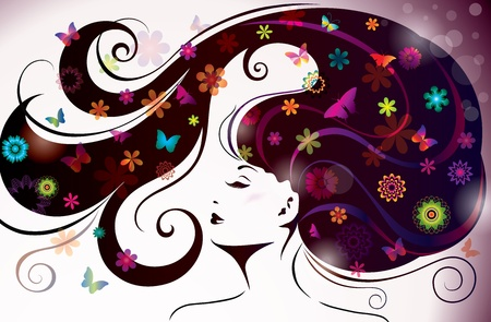 green hair: Beautiful style Woman with Flowers and Butterflies   Illustration