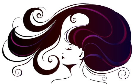 hair cover: Beautiful young woman  Illustration