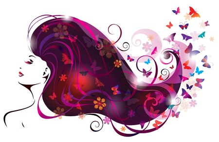 Beautiful Woman and Butterflies   Vector