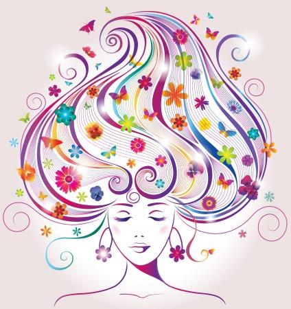 꽃과 나비와 함께 아름 다운 젊은 여자 일러스트