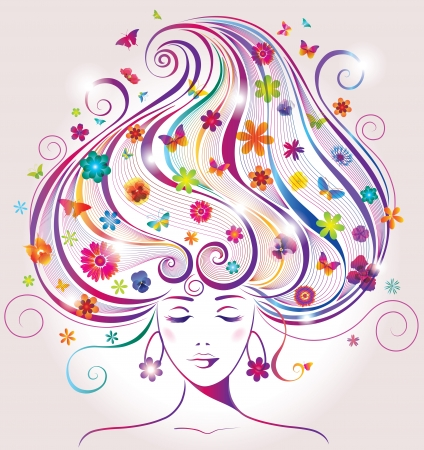 Beautiful Young Woman with Flowers and Butterflies   Vector