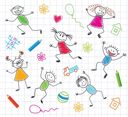 character abstract: Funny Children  Colorful Background   Illustration