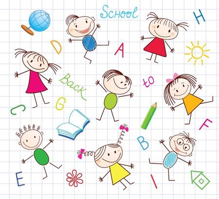 cartoon sun: Back to School  Seamless conceptual background