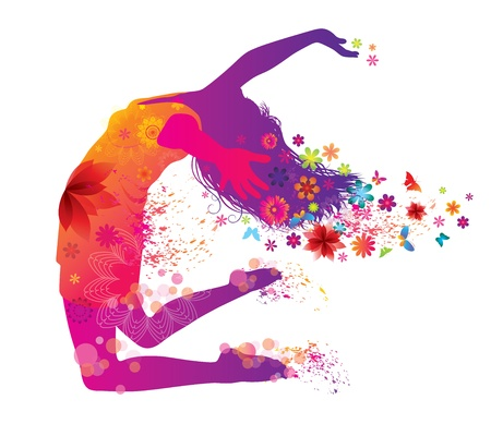 danseres silhouet: Mooie Vrouw Met Bloemen Stock Illustratie