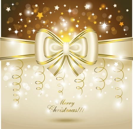 Greeting card with white bow  Vector