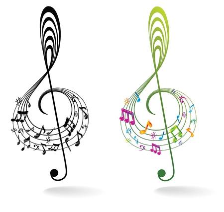 clef de fa: Arri�re-plan avec note de musique.