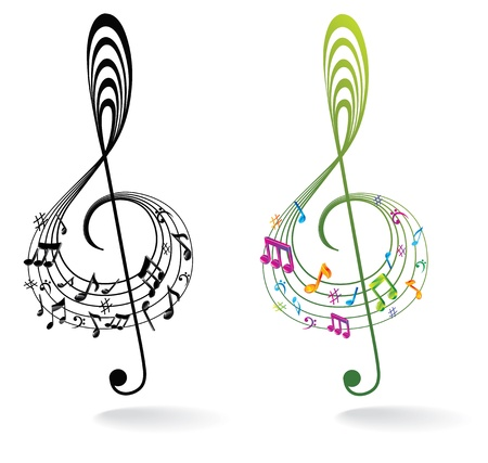 treble clef: Background with Music Note.
