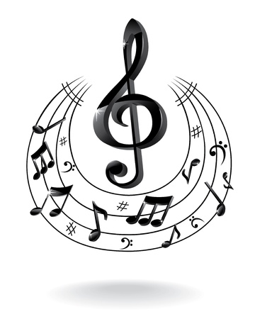 treble: Background with Music Note.