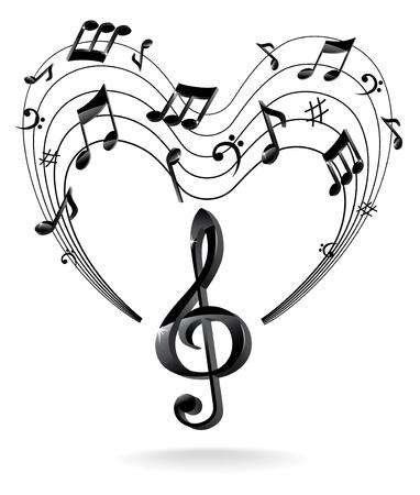 clave de sol: Fondo con la nota de la música. Vectores