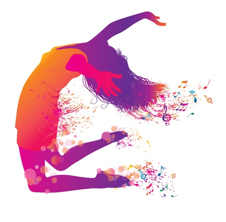 acrobatic: Active Jumping and Dancing Young Woman. Abstract Music Banner.