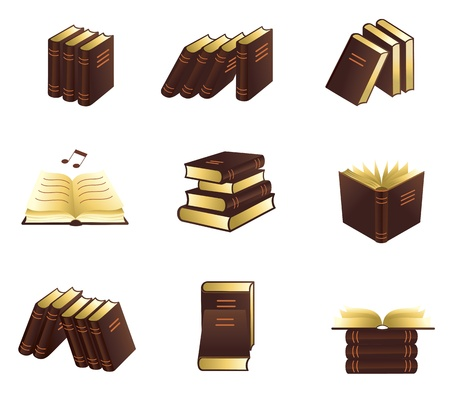 books library: Book icons set.