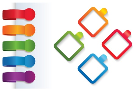 versions: Feedback Labels. Product choice or versions. Abstract background.