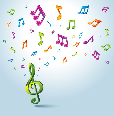 music note: Background with Color Music Notes.