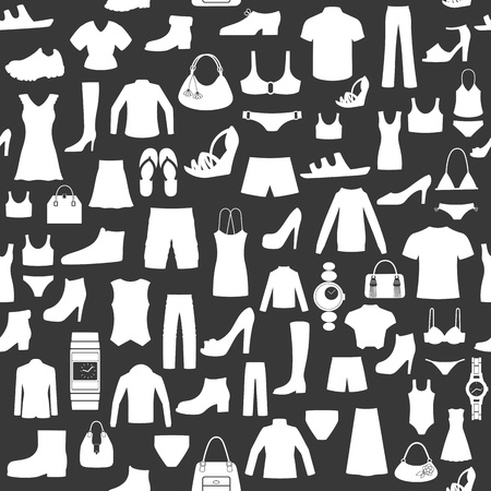 clothes shop: Seamless background with clothing