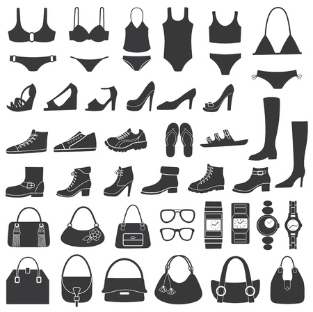 Set of vector silhouettes  shoes, swimwear and accessories  Icons  Vector