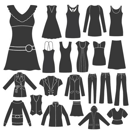dress coat: Set di abbigliamento femminile s Vettoriali