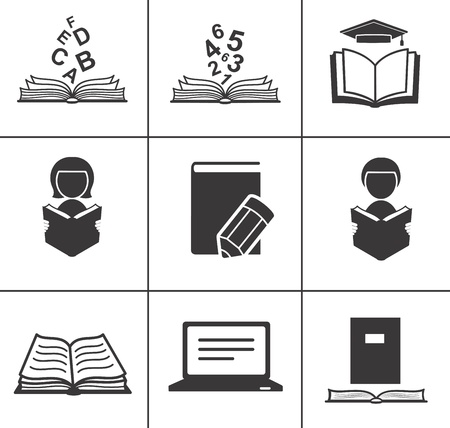 Book icons set Stock Vector - 18312825