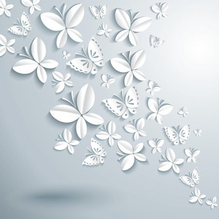 white butterfly: Abstract background with butterflies
