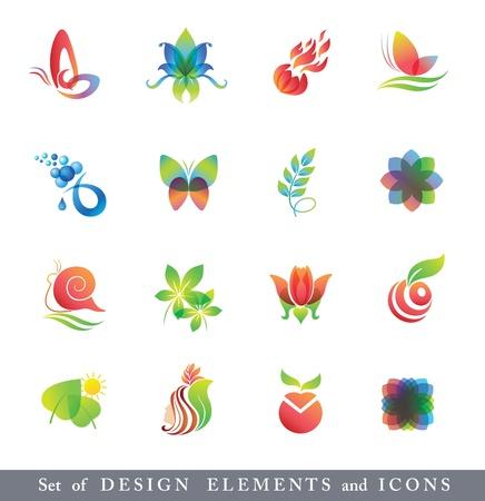 donna farfalla: Set di elementi di design e le icone.