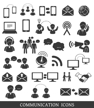 smart phone hand: Set of communication icons