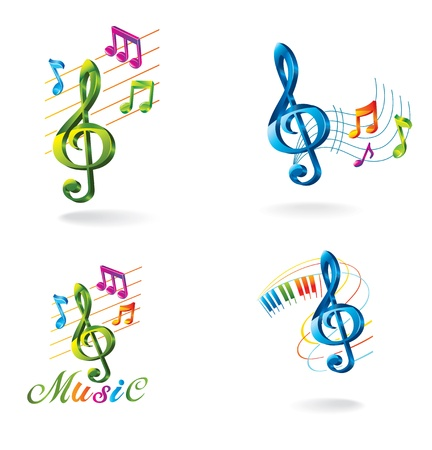 music abstract: Set of color music icons