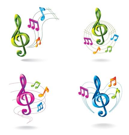musical notes: Conjunto de iconos de la m?sica de color Vectores