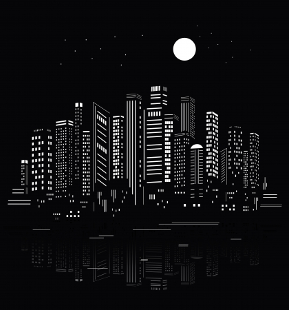 city skyline night: Abstract City Silhouette