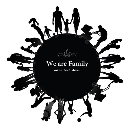 boys happy: Frame with family silhouettes