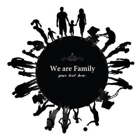 grupo de pessoas: Quadro com silhuetas da fam�lia Ilustra��o