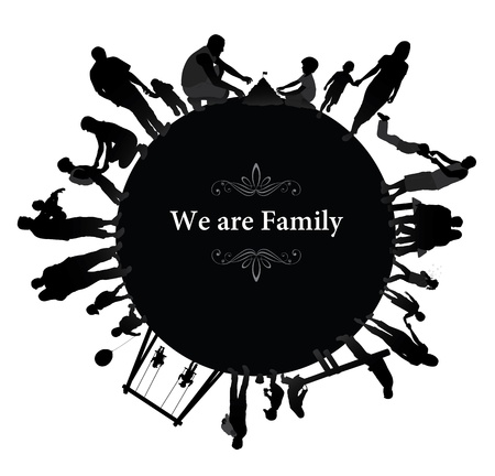 black family: Frame with family silhouettes